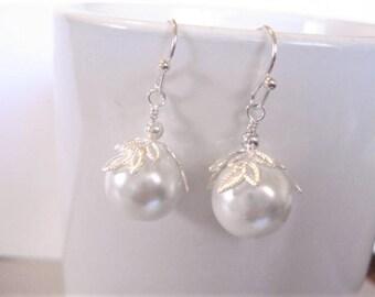 Bridesmaid Earrings White Pearl Earrings Silver Pearl Earrings Silver Leaf Pearl Earrings