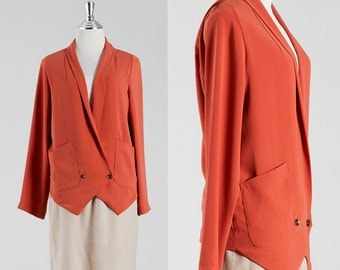 Vintage 90s, Womens Jacket, Terra Cotta Blazer Colorful, Women's Clothing, Shawl Collar, Flattering Silhouettes, Double-Breasted Front