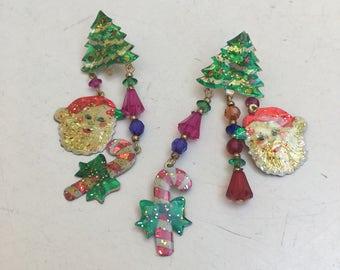 """Vintage dangle glitter Christmas earrings kitsch Watta label pierced 3"""""""