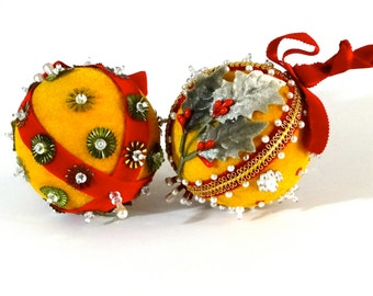 Christmas Ornaments Vintage Hand Beaded Decorated Tree Balls Retro 1960's