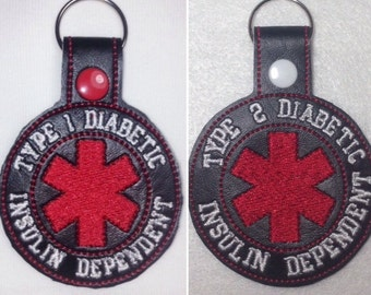 Diabetes Alert, Medical ID, Diabetes Awareness, Type 1 Diabetic, Type 2 Diabetic, Type 2 Alert, Diabetic, Diabetes, Medical Keychain, Type 1