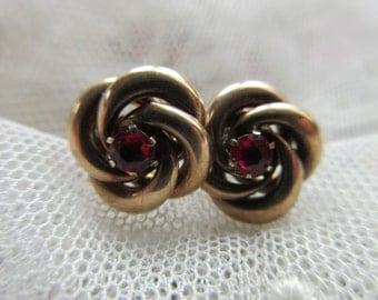 Antique 10K Ruby Doublet Earrings , Antique Pierced earrings , Ruby Earrings, Fine Estate Jewelry , Gifts For Women , Gold Earrings , Bridal