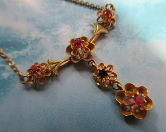 Antique Edwardian 10K Necklace - Antique Lavaliere -  Circa 1910 Jewelry -  Ruby Paste and Garnet 10K Lavaliere  - Estate Jewelry - Heirloom