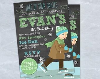 Ice Skating Birthday Invitation for Boy Ice Skating Party, Printable Ice Skate Invitation, Ice Skating Party Invite