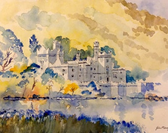 Kylemore Abbey Ireland, print from an original line & wash watercolour painting by John Menage size A3 or A4