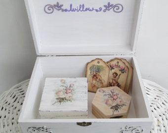 Box Set Newborn Baby Shower Rose Wedding Gift Personalized Baby Girl Treasure Chest