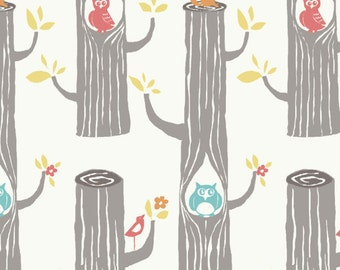 Woodland Animal Fabric - Birch Organic Cotton Fabric - Circa 52 - Woodland Friends Cream