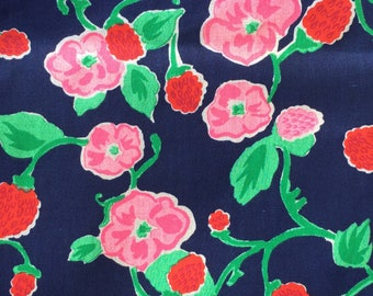 Cotton Fabric / Floral Cotton Fabric / Blue Floral Fabric / Vintage Floral Fabric / Pink Floral Fabric / Floral Fabric /