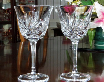 "2 GORHAM CHERRYWOOD WATER Goblets 6 7/8"" Tall Clear Glasses Clear Multi Sided Stems Crystal Goblets Cut Criss Cross Fan Excellent Condition!"
