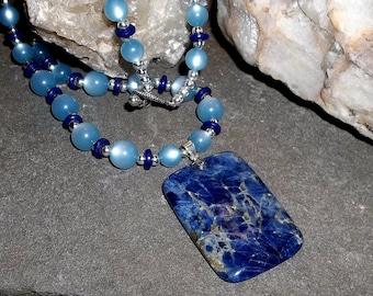 Lapis Lazuli Pendant with vintage beaded necklace