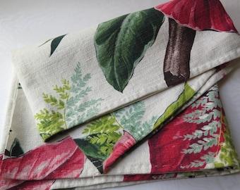 Barkcloth Fabric Panel Runner Valence 16.5 x 47.5 Inch Tropical Floral Ivory Burgundy Green Vat Print Caracas Preshrunk 1950 Mid Century