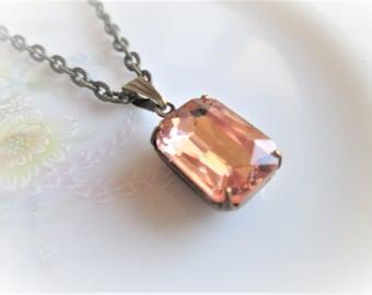 Vintage Rosaline Pink Glass Pendant Necklace, Champange Jewlel, Antique Bronze Prong Set, Jewelry, Nickel Free, 18 Inch, Rectangle Drop