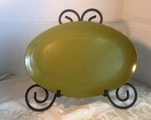 Easter Sale Vintage Melamine Olive Green Serving Platter by Allied Chemical