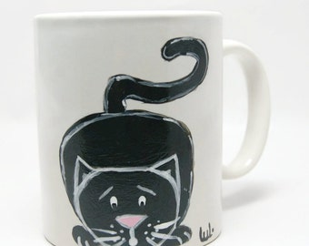 Ceramic mug with black cat - Coffee mug with cat - Tea mug with cat