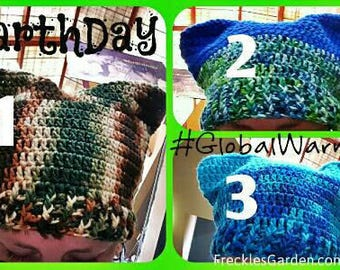Earth Day Pussy Cat Hat in Crochet by FreCkLes GarDeN - All Sizes - PussyHat Equality Climate Change Science Global Warming Ocean
