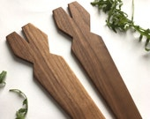 Eco Walnut Salad Server - pair of one of a kind recycled wood seeving utensils gift