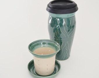 Ceramic Travel Tea Mug with Lid and Infuser, IN STOCK, Holiday Gift Tea Set, Green To Go Mug, Tea Maker, Commuter Mug