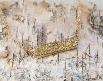 Gold druzy bar layering necklace, sparkly gold dipped necklace, long golden stone bar necklace, dainty boho bar necklace