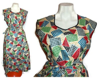 DEADSTOCK Vintage 1950s Cotton Wrap Dress Mid Century Apron Dress Abstract Geometric Print New Rockabilly  M L