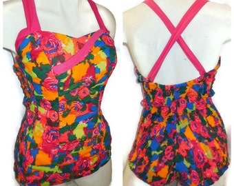 SALE Vintage 1950s Bright Cotton Bathing Suit Abstract Floral Pattern Ruching Pinup Rockabilly Smocked Swimsuit M