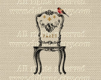 Antique French CHAIR Bird - Large Single Image - Printable to print on Fabric, Iron On Transfer for Tote Bags t-shirts Pillows
