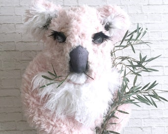 Kiwi Faux Taxidermy Koala| koala bear | pink | pink koala | faux taxidermy | wall art | childrens wall art | mounted head | pink faux fur