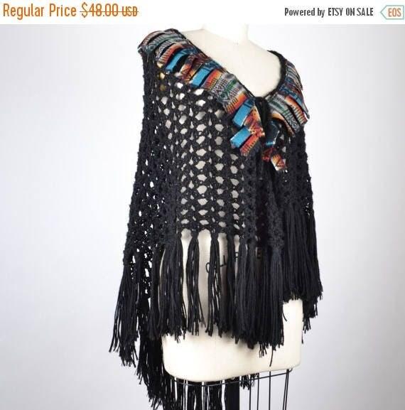 SUMMER SALE Re-purposed Crochet Shawl - Hippie Shawl Poncho - Native American Inspired - Festival Crochet Poncho