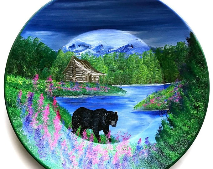 Hand Painted 11 Inch Gold Pans Mountain Summer Cabin and Black Bear