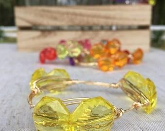Pink, orange, green or yellow bangle