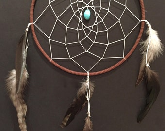 Large Brown and White Dreamcatcher with turquoise and feathers, 9 inch dream catcher, simple brown and white dreamcatcher, great gift!