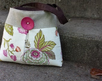 Pleated Floral Handbag in Pink and Cream with Button