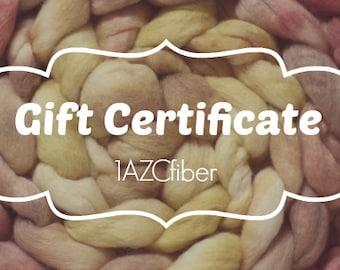 Gift Certificate Card Cert Hand dyed painted roving fiber top merino silk 1azcfiber