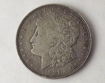 1921 Morgan Silver Dollar Collectible Coin, 1921 One Dollar Coin Philadelphia, Vintage Coin