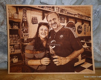 Leather Engraved Photo, Personalized Leather Engraved Photo, Laser Engraved Photo on Leather, Leather 3rd Year Anniversary Photo