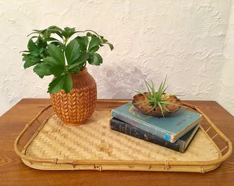 Boho Vintage Wicker Rattan Drink Tray