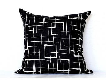 Gridlines Linen Pillow Cover  -Black Combo