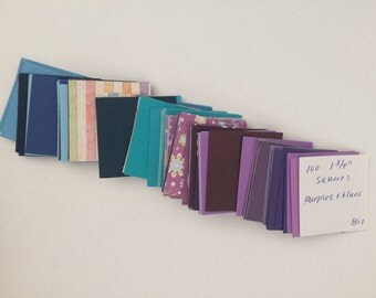 "Papers Squares 100 1.75"" 1 3/4"" Card Stock Mulitple Colors You pick! Great for Card Making Paper Crafts Confetti Scrapbooking"