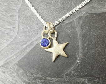 True Blue Little Star - gold star and sapphire pendant, minimalist, modern, wedding jewellery, made in uk