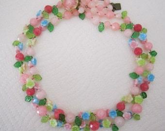 Vintage West Germany pastel flower garland necklace double strand. flower necklace. floral necklace