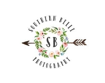 Photography logo and Watermark, Watercolor Floral Wreath and Arrow Logo, Bohemian Premade Logo Design 222