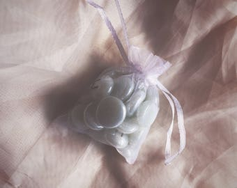 White Opalescent 25pc Elder Futhark Glass Rune Set with Bag