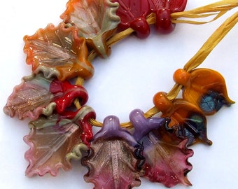 Autumn Leaves, Collection of Lampwork Glass Leaves  for Jewelry Making, Set of 10 leaf beads, Made to Order