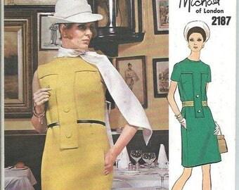 ON SALE Vogue Couturier Design 2187 Michael of London One-Piece MOD Dress Pattern and Label, Size 18 Uncut