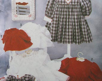 """Size 2 - 6X Classic Girl's Dress, Simplicity 7036, lace, piping, contrasting fabrics and matching dress for 25"""" height doll, Oliver Goodin"""