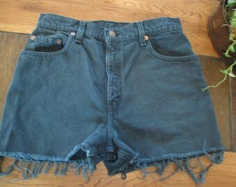 """Levi's 551 Cut Off Shorts Size 29 forest green vtg 90's 29"""" waisMade in USA  levis Vintage Levi's FREE SHIPPING!!!"""