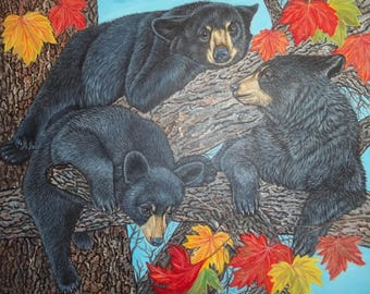 "original oil painting   Three Black Bear Cubs in a Maple Tree   size 30""x 24"" x 1"""