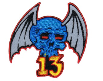 Artist Reed #13 Blue Skull Red Eyes Embroidered Iron On Badge Applique Patch FD