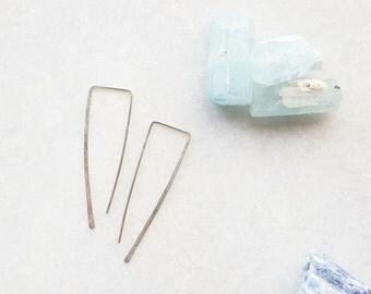 Sterling Silver Rectangle Upside-down Hoop Earrings