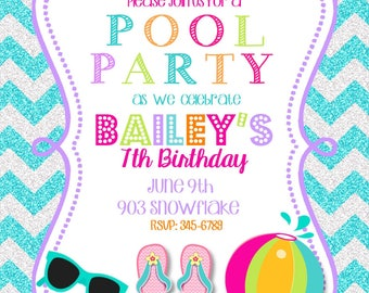 12 Pool Party invitations with envelopes-swim paty- swimming party-glitter- any colors