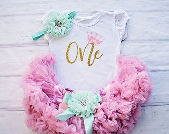 1st Birthday Girl Tutu Outfit, Birthday Shirt,  Cake Smash Outfit, Pink  and Mint Birthday Outfit Set - Embellished Skirt and Top